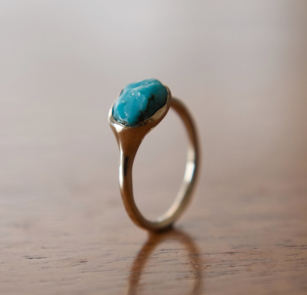 Turquoise & 14k Gold Engagement Band, $500