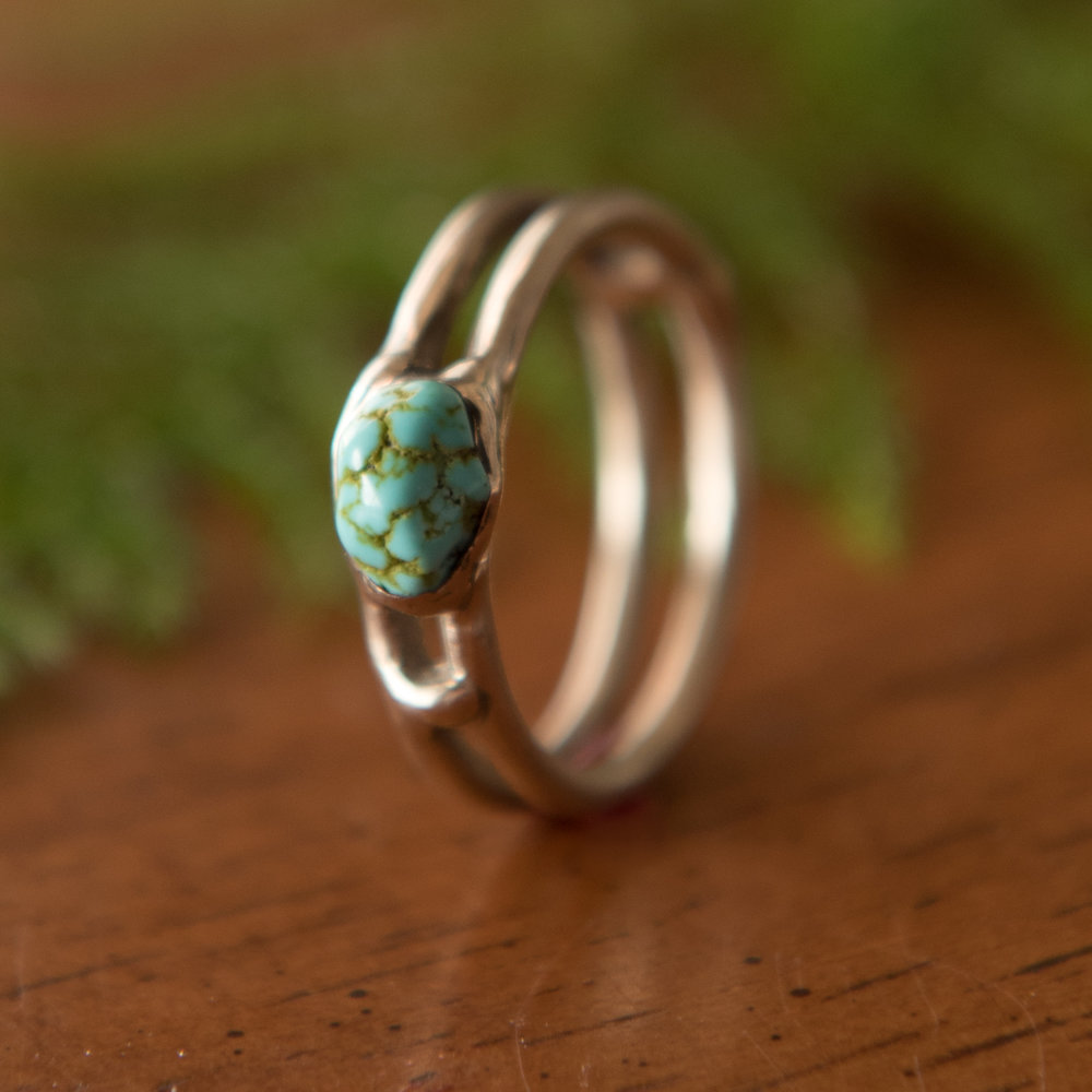 Turquoise & 14k Gold Double Band, $500