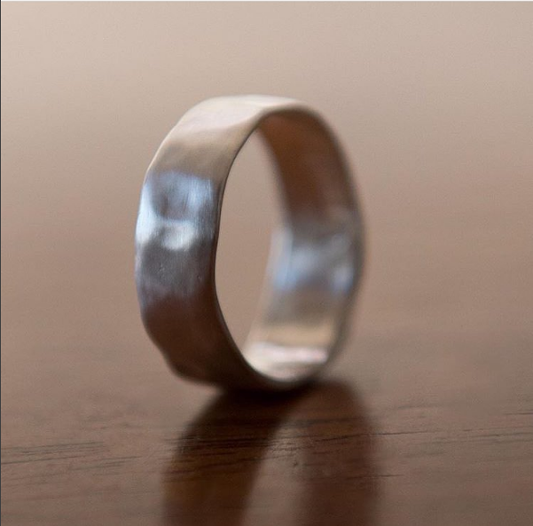 Sterling Silver Matte Hammered Band, $200