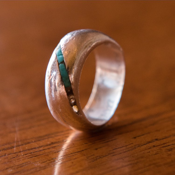 Silver Inlaid With Turquoise, $350