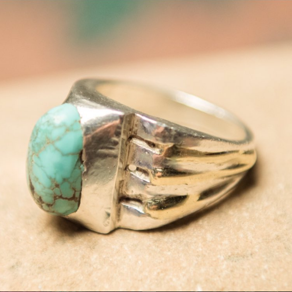 Turquoise & Silver With Gold Inlays, $450
