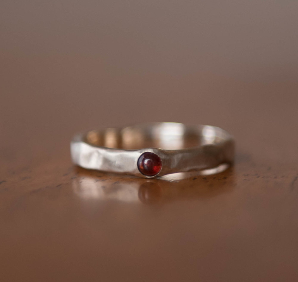Red Garnet in 14k White Gold, $450