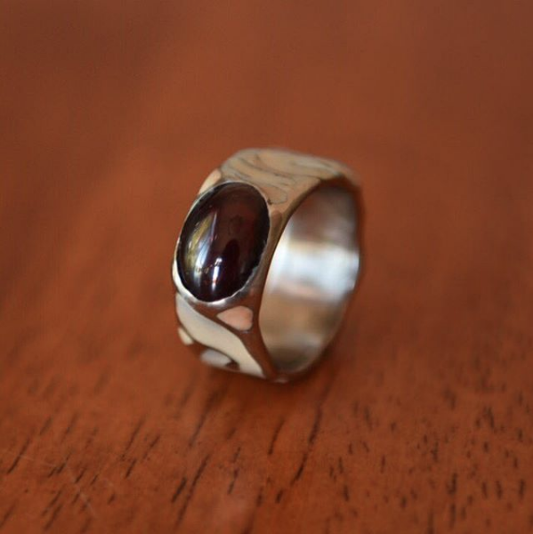 Red Garnet in Porcelain Inlaid Band, $250