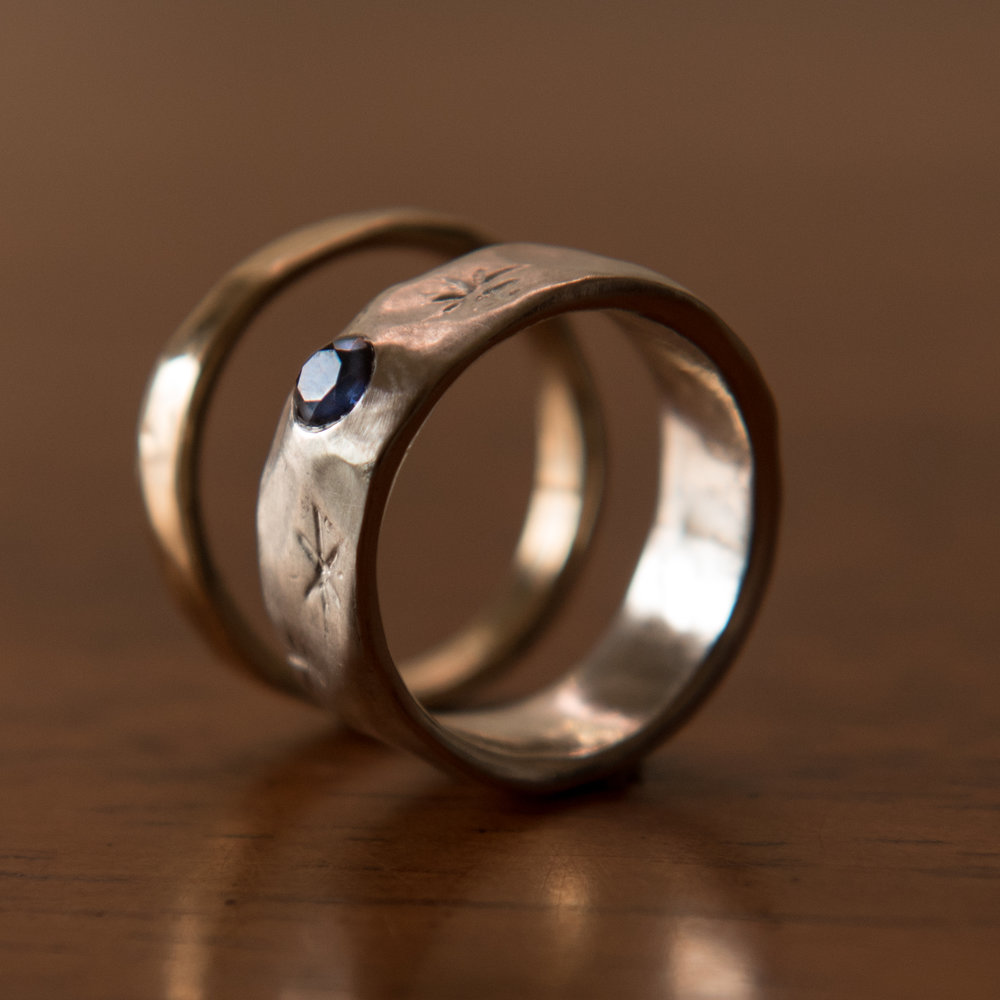 Sterling Silver Sapphire Ring + Hammered 14k Gold Band, $800