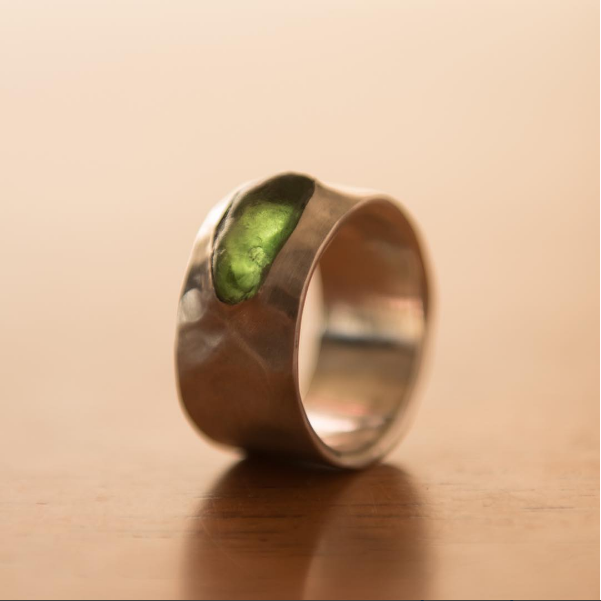 Green Italian Sea Glass in Hammered Silver, $350