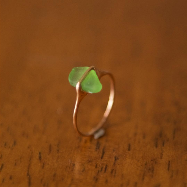 Green Santorini Sea Glass in Rose Gold, $350