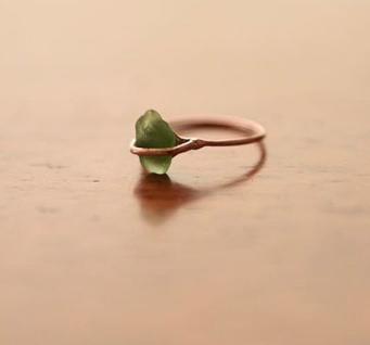 Green Santorini Sea Glass in Rose Gold, $350