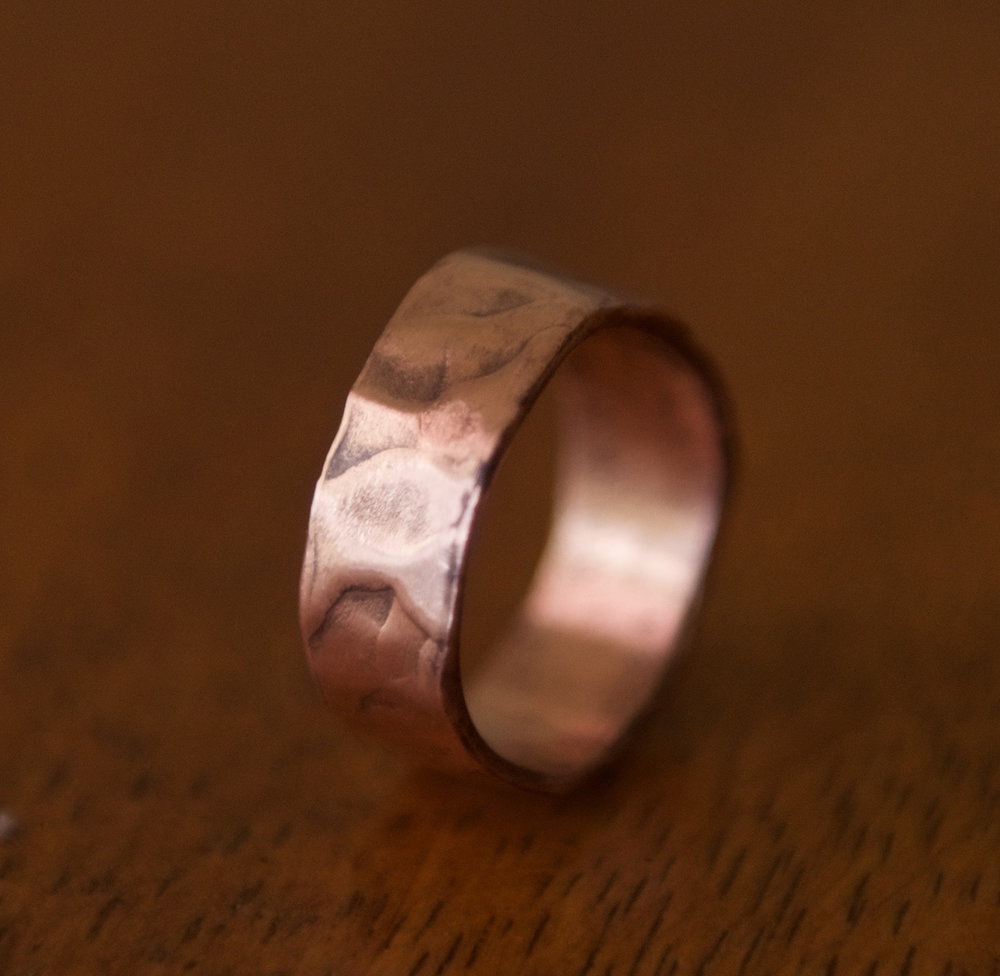 Wide, Hammered Copper Band, $60