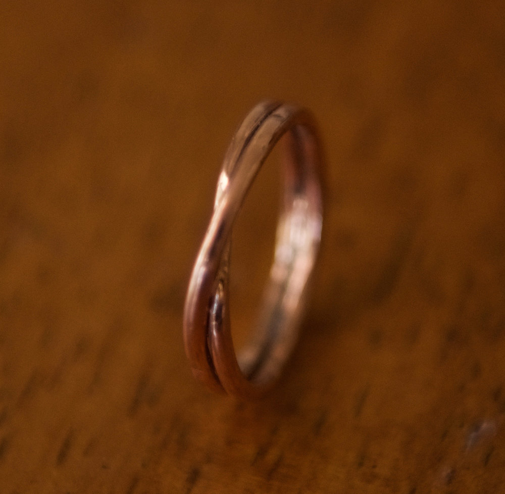 Double Banded Copper Ring, $40