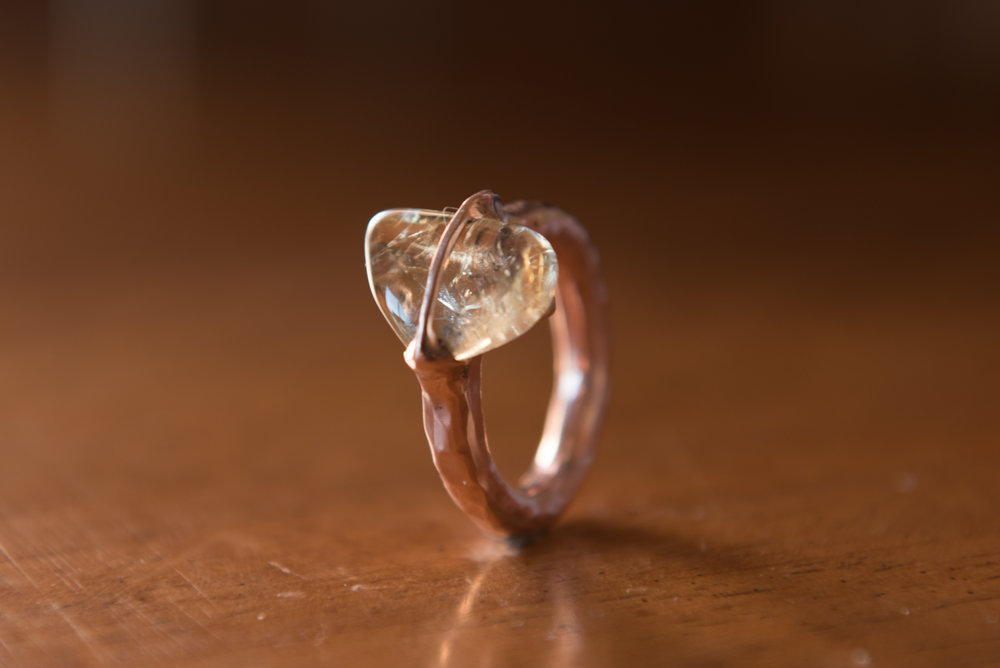 Glass Stone in Copper Band, $100
