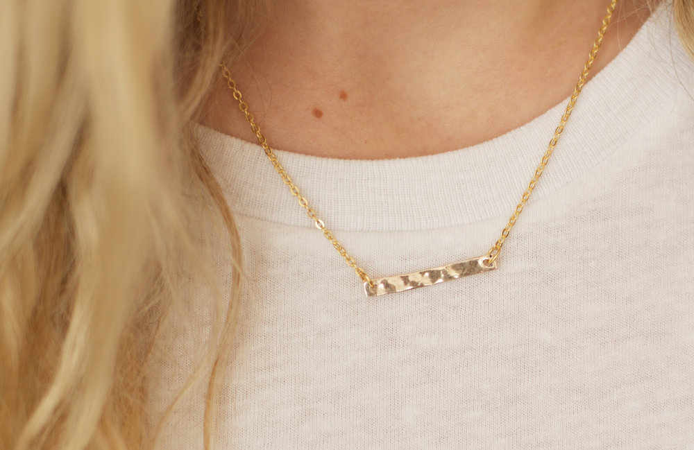 14k Hammered Gold Bar Necklace, $100