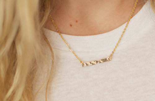 Necklaces pendants rough hewn 14k hammered gold bar necklace 100 aloadofball Image collections