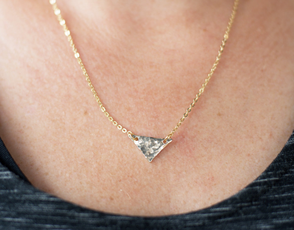 14k Gold Hammered Triangle Necklace, $100