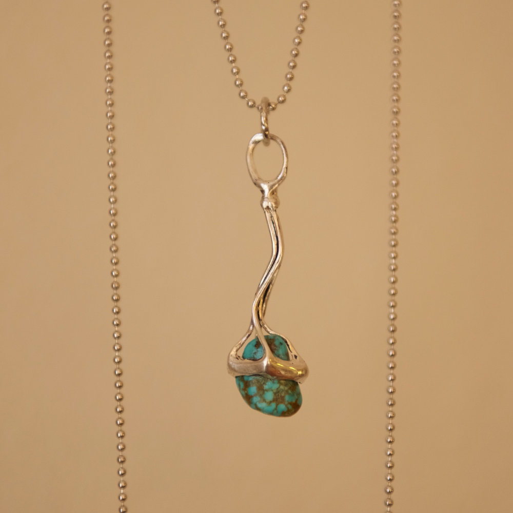 Turquoise & Silver Abstract Pendant