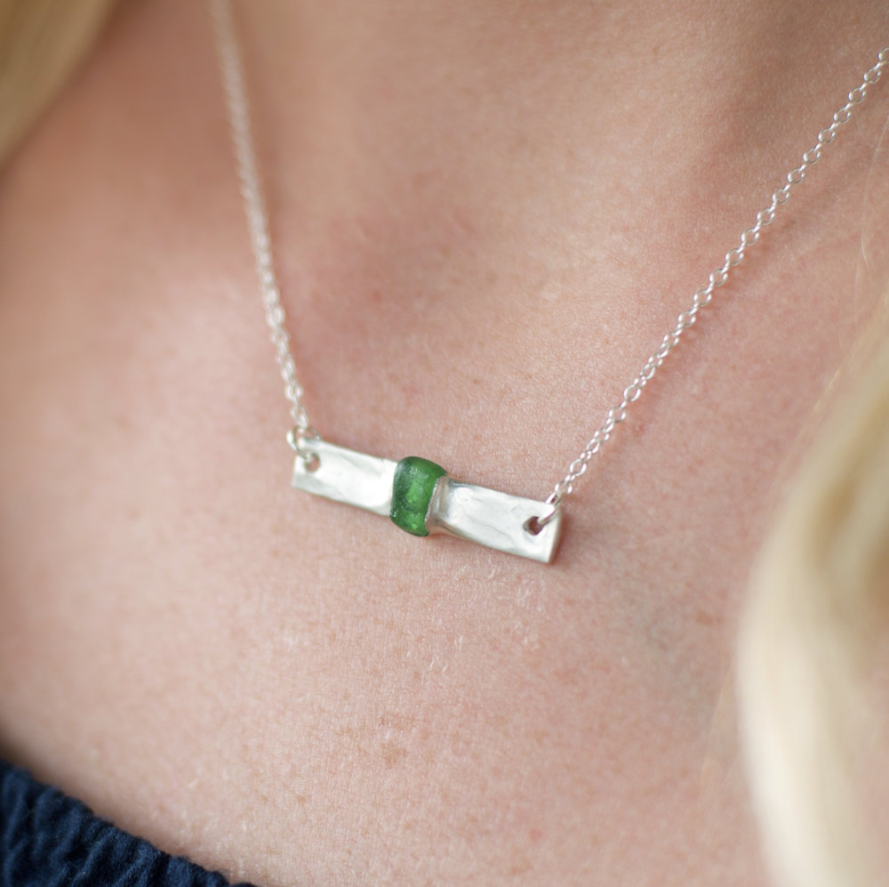 Silver Sea Glass Necklace, $80