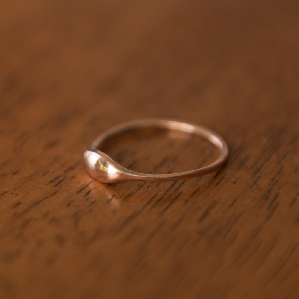 Polished Copper Button Ring, $50