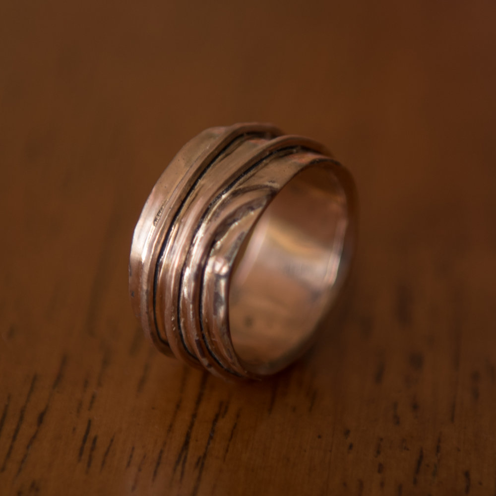 Copper and Silver Mixed Wire Ring, $150