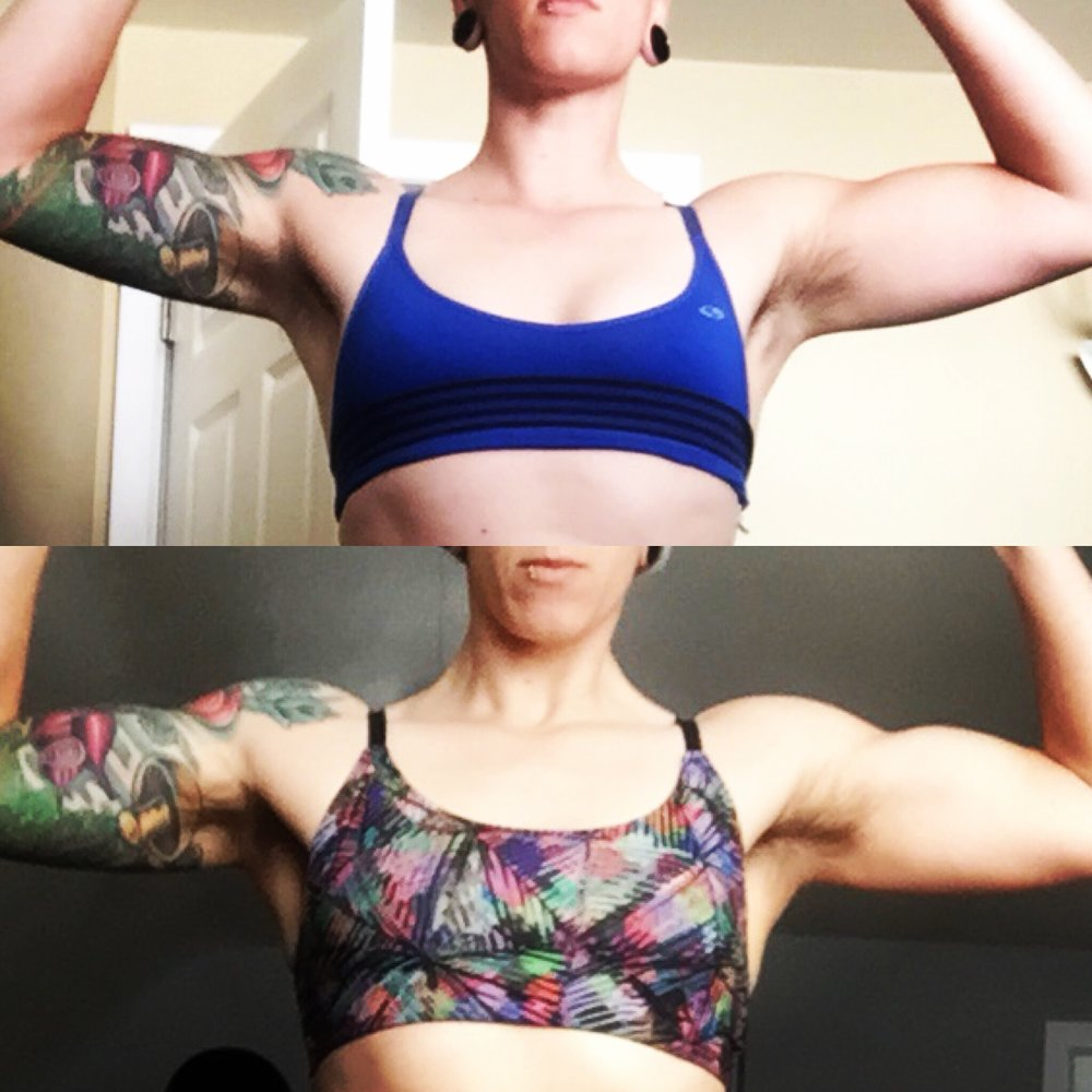 Shoulders prior to cut and after the last 3 weeks of the cut.