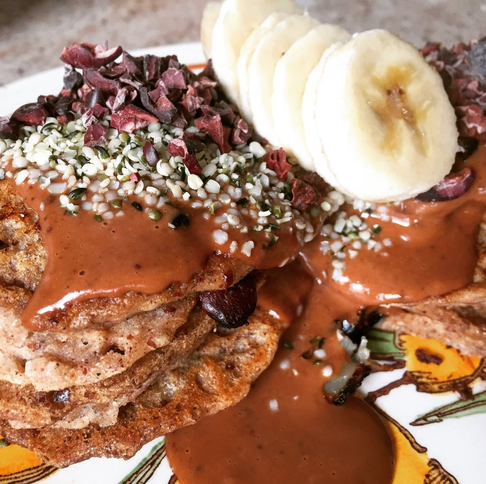 Vegan Sprouted Coconut Banana Pancakes with Chocolate Peanut Butter Sauce