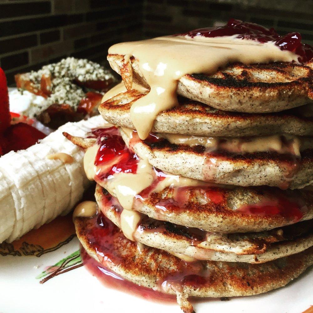 PB&J Buckwheat Pancakes