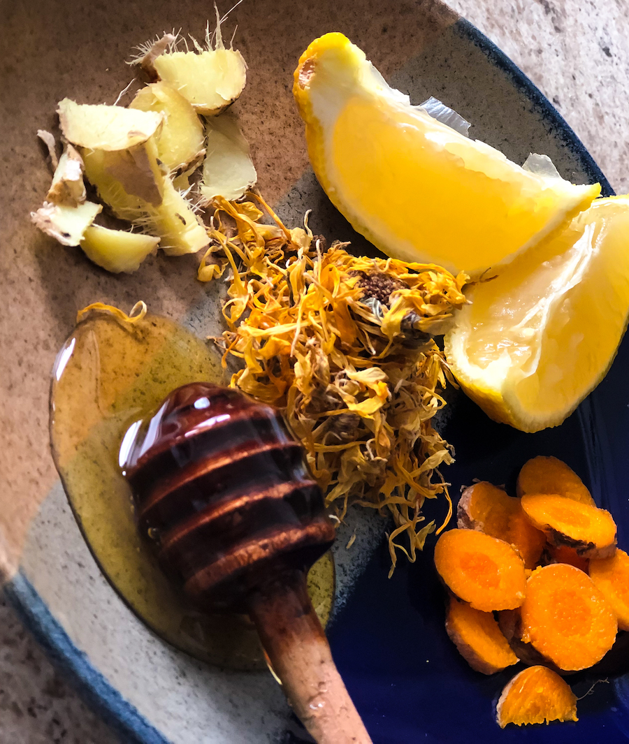 Fresh Ginger Root, Lemon, Calendula Petals, Honey, and Fresh Turmeric Root