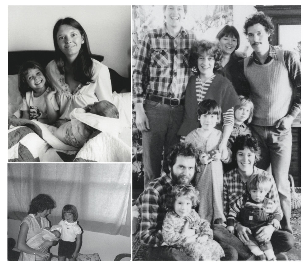 Top Left.  Birth day; Mom high on Oxytocin with me and baby Aaron, just after delivery.  Right.  Like an LL Bean ad, Our close family of friends in the 1980's: The Kamm's, The Carr's, and the Fultz's. (Joan rocking the striped onesie in the center).  Bottom Left.  Birth Day; Joan, Jesse, and baby Aaron.
