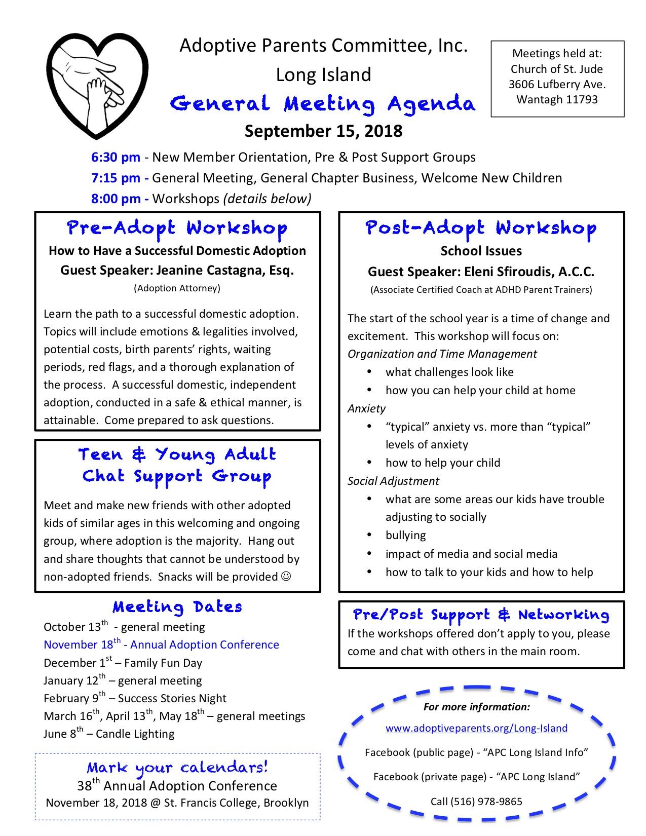 September 15 - Long Island General Meeting — Adoptive