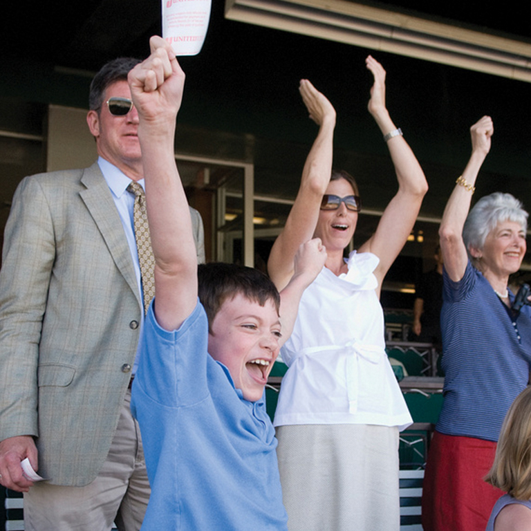 Owen, Vivien's grandson has the winning horse at Belmont!