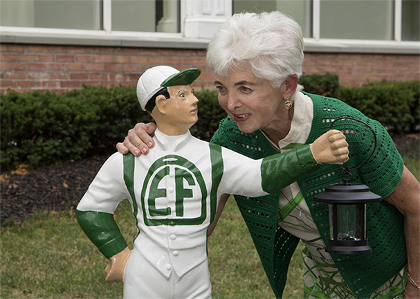 Vivien giving a pep talk to her jockey for the Saratoga racing season