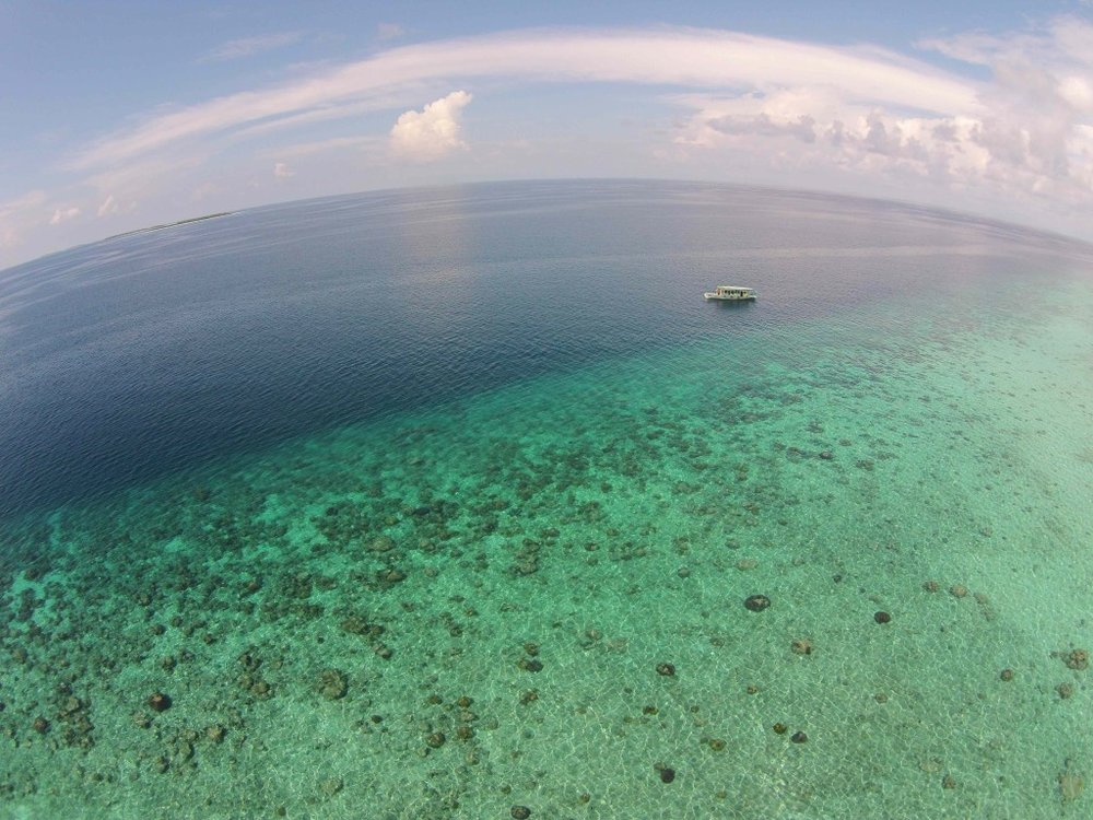 Reef at the southernmost point of Lhavyani atoll