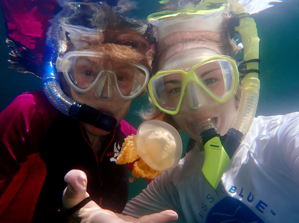 Sylvia and Andrea in Jellyfish Lake