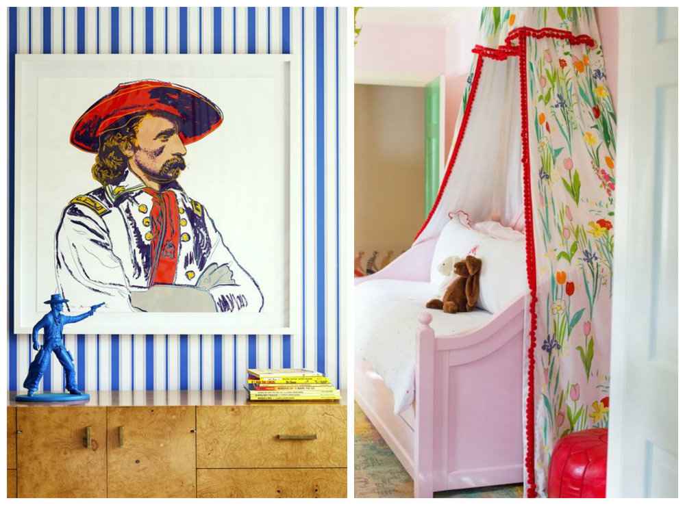 Left: I love everything about this little boy's room. Right: Oh, and I love everything about this little girl's room.