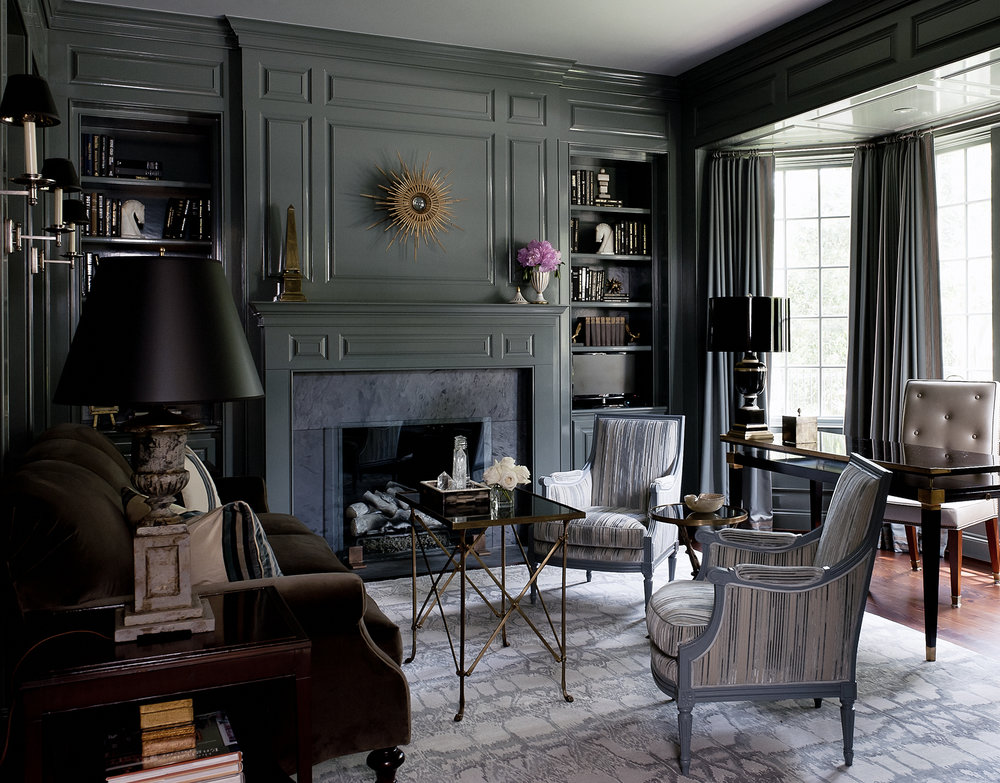 This photo just does not do the space justice. This study is a perfect balance of feminine and masculine, and the sage paneled walls are both sophisticated and cozy.
