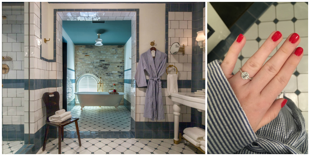 Hard to decide what to keep staring at, the ring or the room??? [Left Photo Source:  The Hotel Emma ]