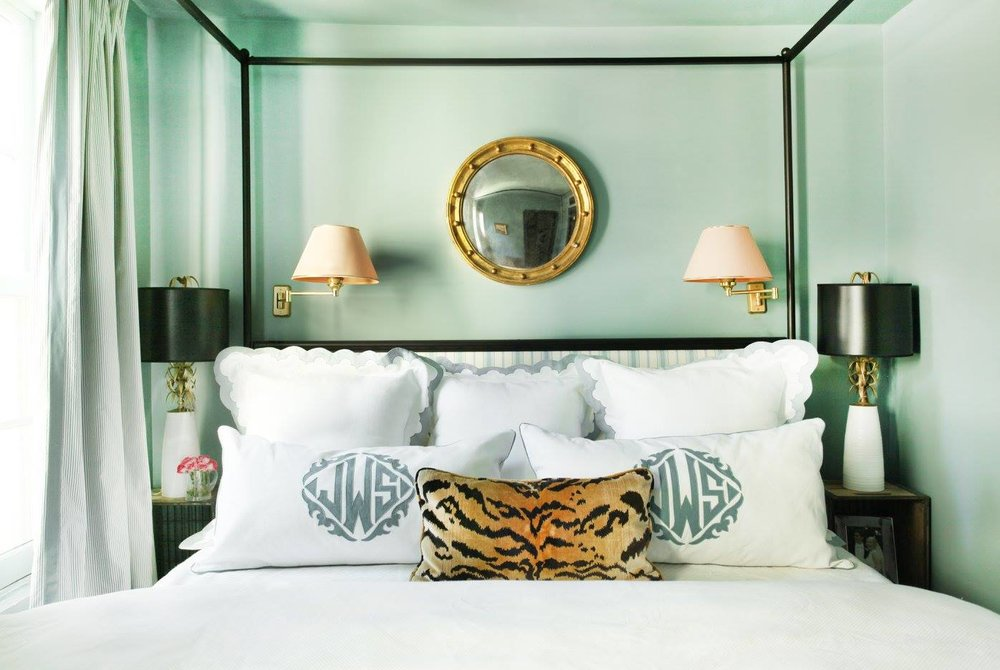 Sari's Arbitrary Design Rule: Every house should have a gold, round convex mirror. And probably a Le Tigre silk velvet lumbar pillow, too, if we're being serious.