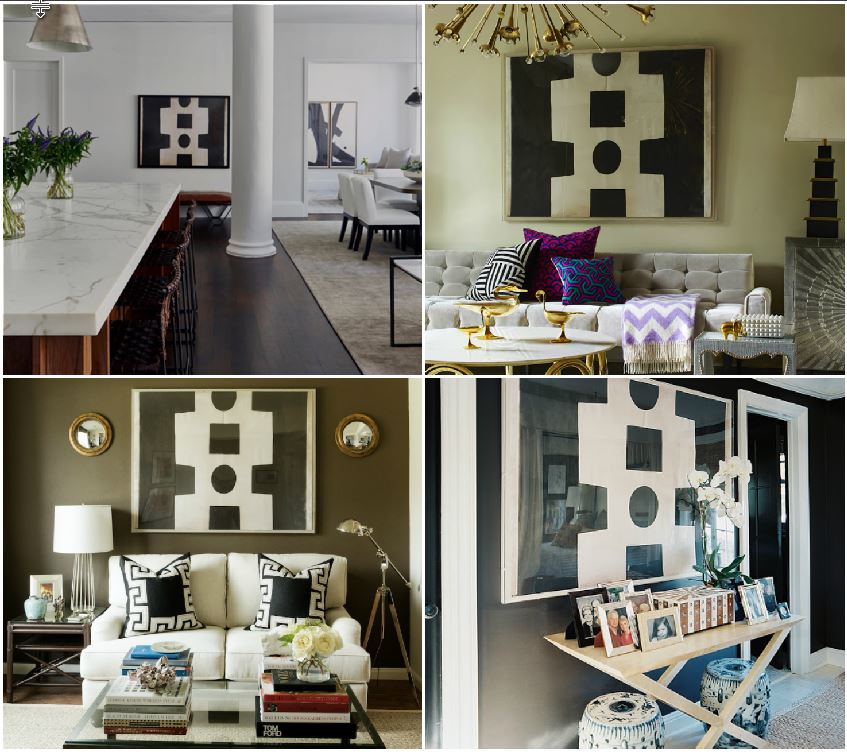 Clockwise from top left: Susana Chango, Jonathan Adler, Paloma Contreras, and Mark D. Sikes, are just a few lovers of this black and white abstract. Source: Artie Vanderpool .