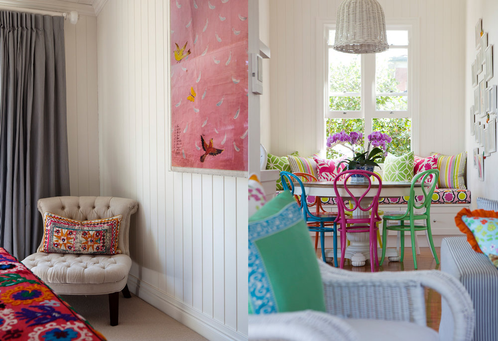 I spy a  Paule Marrot  print....! And look at those fun painted Thonet chairs!