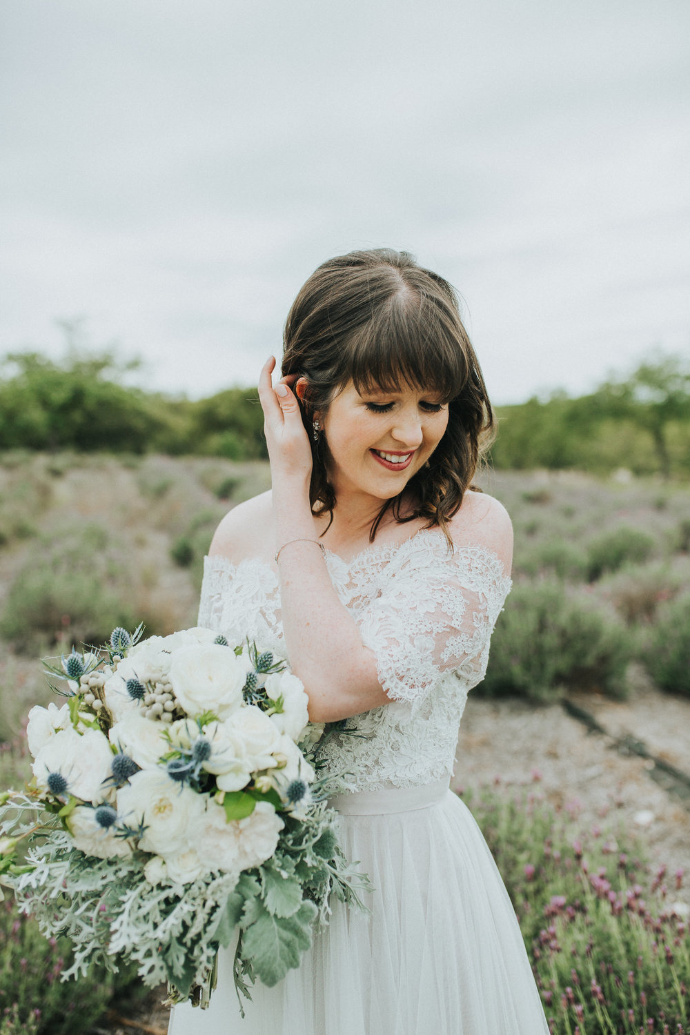I wanted my dress to be simple and romantic. I fell in love with the subtle mocha undertones in the skirt and ribbon belt, and paired it with a delicate lace off the shoulder jacket.