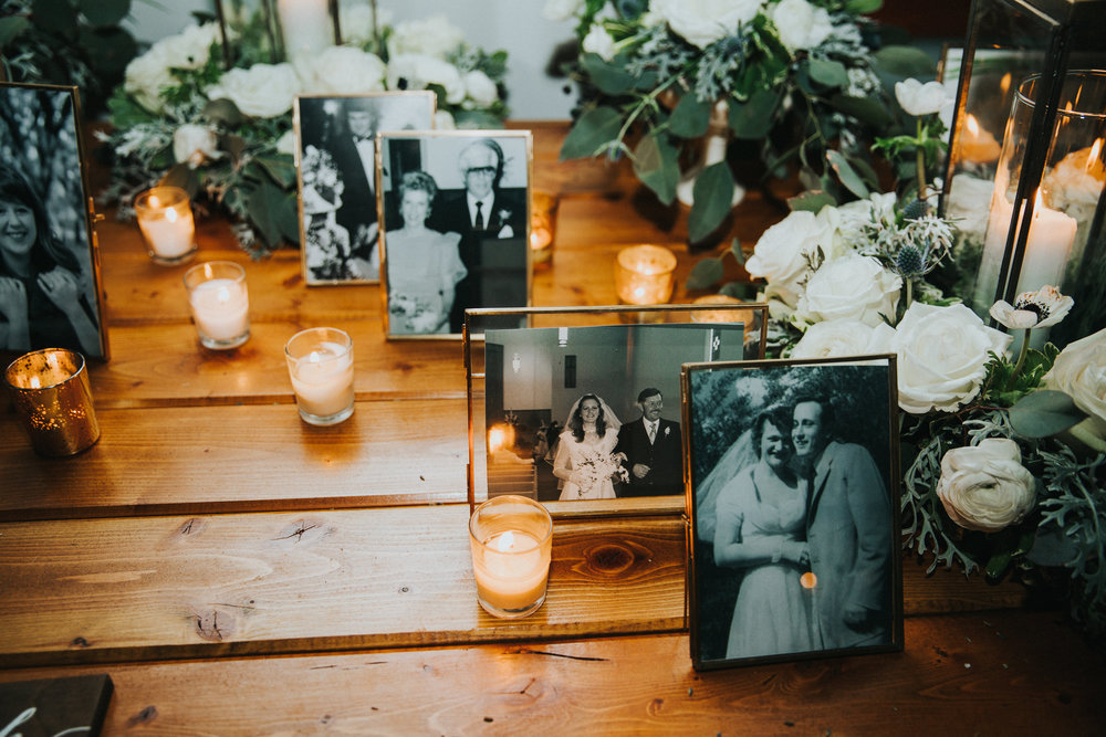 Wedding photos of our parents and grandparents adorned the guest book table.