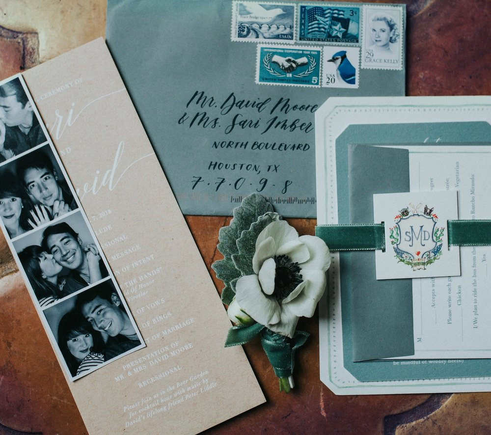 I had always dreamt of using a collection of vintage stamps. Michael pulled together the perfect blue grouping to adorn the sage, hand calligraphed envelopes.
