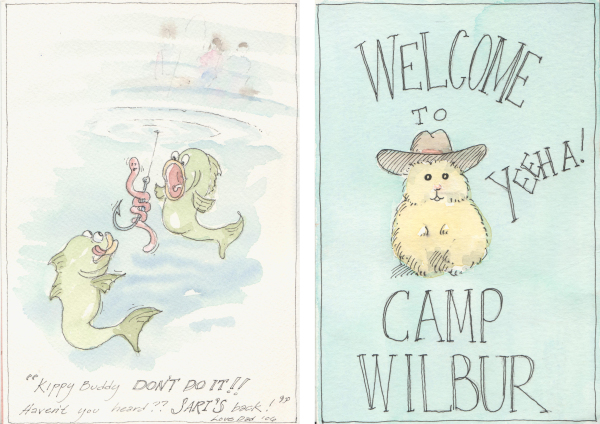 Watercolors in the mail from my dad. On the right, a reminder of my hamster waiting for me back home.