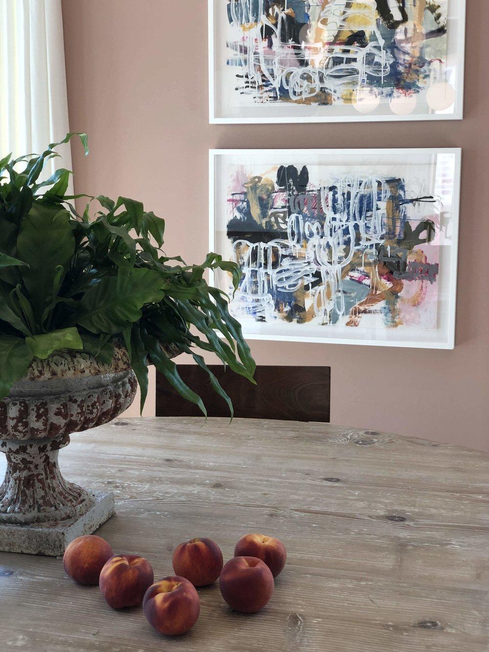 Amazing dusty pink dining room by Meg Lonergan.