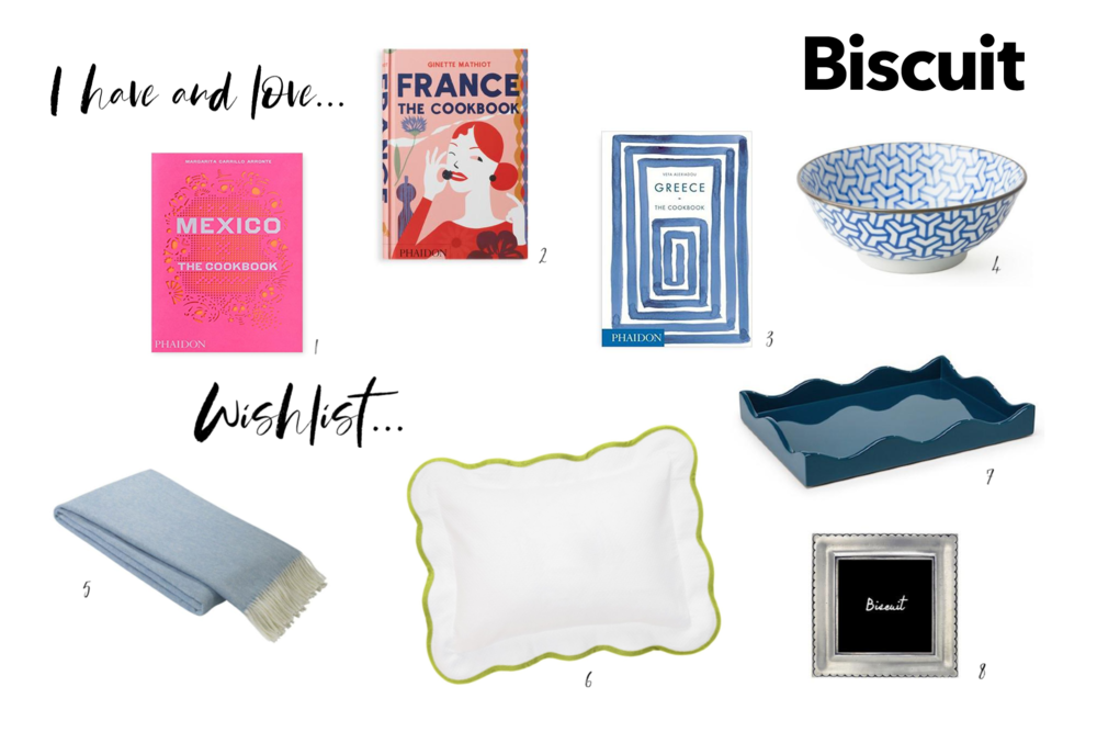 1.  Mexico Cookbook  2.  France Cookbook  3.  Greece Cookbook  4.  Blue & White Bowls  5.  Throw Blanke t 6.  Boudoir Sham  7.  Small Tray  8.  Pewter Frame