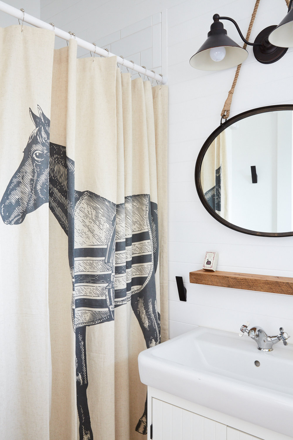 Linen Horse Shower Curtain