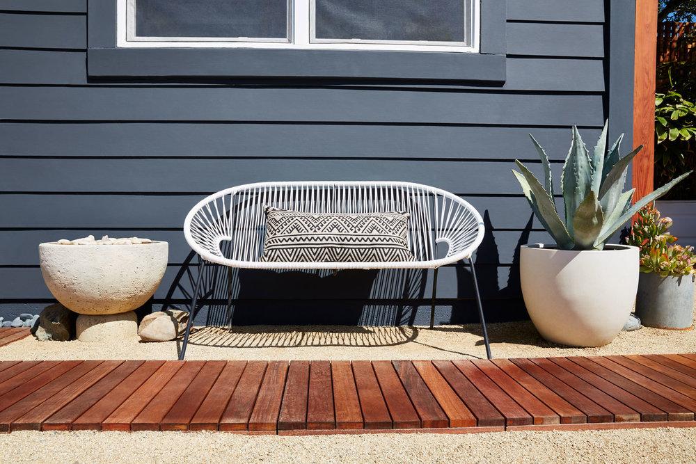 Sitting Bench in Backyard