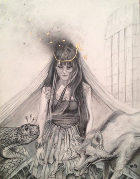 Hel mother of Krampus 11x14 charcoal on bristol 2014