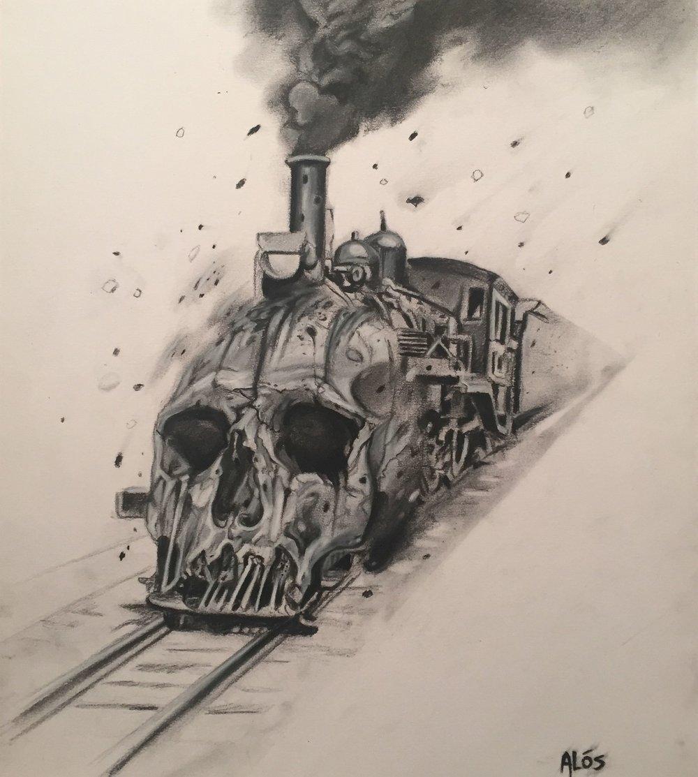 Haunted Rails 11x14 charcoal on bristol 2015