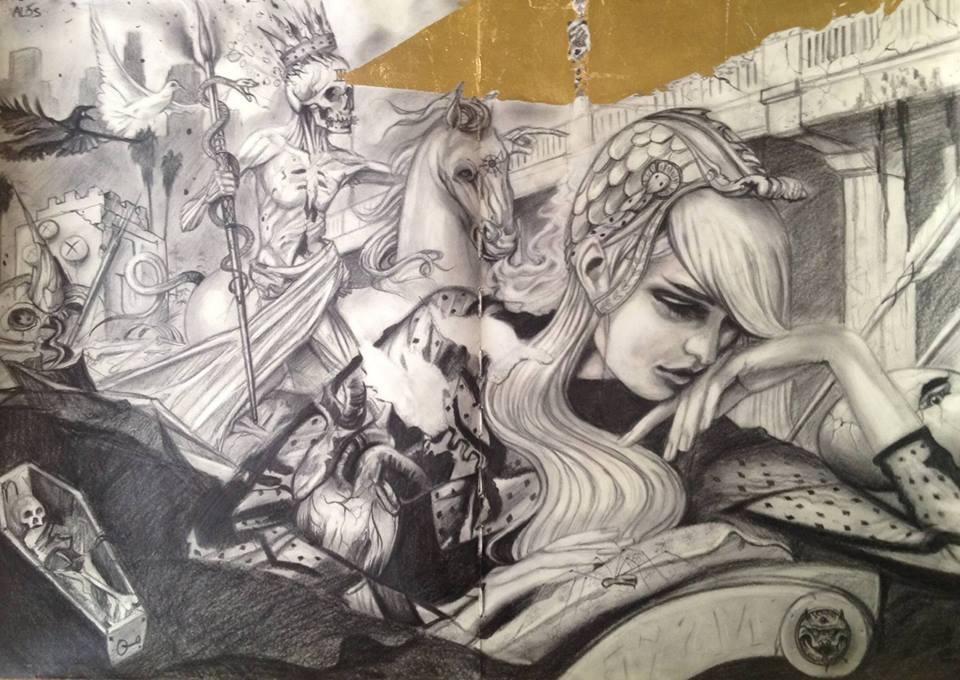 """Pale Rider 16x26"""" graphite on moleskine 2015"""