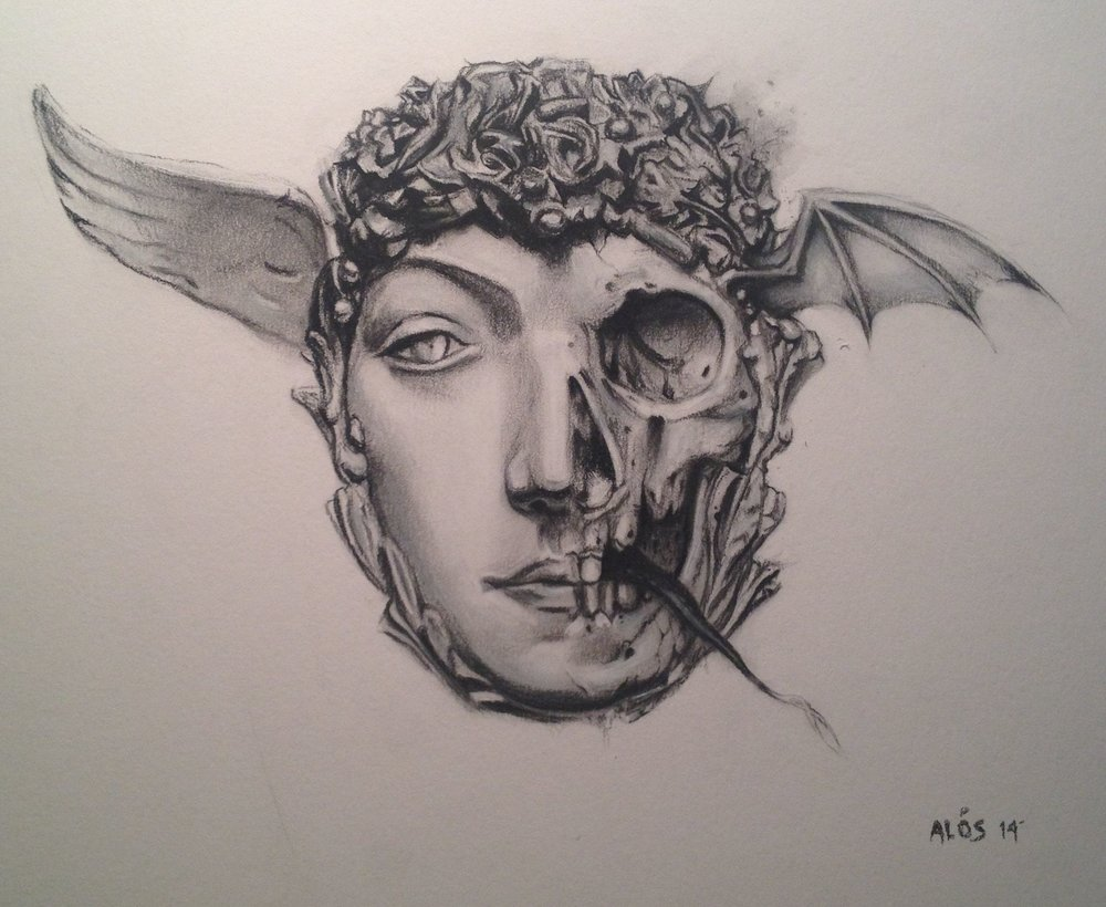 Khnopff's Masque 11x14 charcoal on bristol 2014