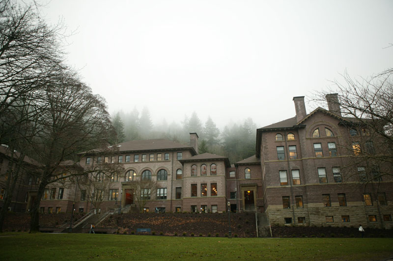 According to Barney Mann, the conversation took place in this building, the Old Main Building at Western Washington University, which was a teacher's college when Miss Montgomery worked there.
